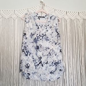 Rose & Olive blue gray watercolor sleeveless top